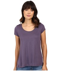 Calvin Klein Jeans Solid Short Sleeve Split Back Tee Dense Violet Women's T Shirt Purple