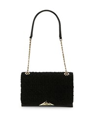 Karl Lagerfeld Textured Leather Shoulder Bag Black Gold