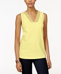 Styleandco. Style And Co. Crochet Trim Tank Top Only At Macy's Soft Sun