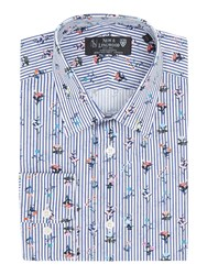 New And Lingwood Filton Floral On Stripe Print Shirt White