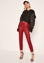 Missguided Red Petite Faux Leather Lace Up Trousers