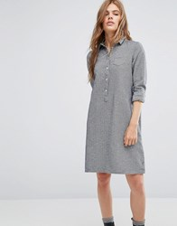 Ymc Chambray Shirt Dress Navy White Herringbo