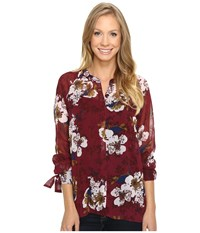 Kut From The Kloth Jillian Rosewood Women's Long Sleeve Button Up Red