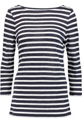 Tory Burch Virginia Striped Linen Jersey Top Midnight Blue