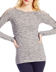 Jessica Simpson Darby Lace Up Shoulder Detail Top Grey