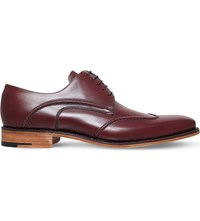 Barker Brooke Wingtip Leather Derby Shoes Wine