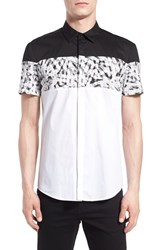 Men's Antony Morato Extra Trim Fit Short Sleeve Block Print Woven Shirt