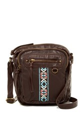 T Shirt And Jeans Washed Embroidered Crossbody Brown