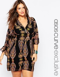 Asos Curve Playsuit With Frill Sleeves In 70S Paisley Print Multi