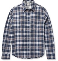Faherty Reversible Checked Cotton Twill Shirt Gray