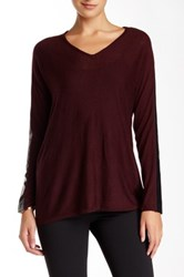 Nicole Benisti Faux Leather Trim Long Sleeve Sweater Red
