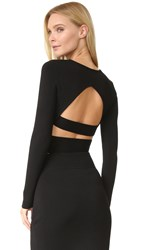 Kendall Kylie Compact Crop Long Sleeve Top Black