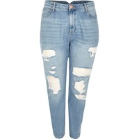 River Island Womens Ri Plus Light Wash Ripped Mom Jeans