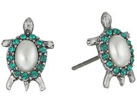 Marc Jacobs Turtle Stud Earrings Cream Antique Silver