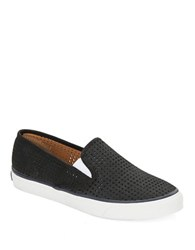Sperry Seaside Perforated Leather Slip On Sneakers Black