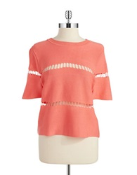 J.O.A. Laser Cut Accented Crop Top Spring Coral