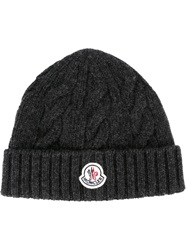 Moncler Cable Knit Beanie Grey