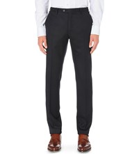 Corneliani Tailored Fit Wool Flannel Trousers Navy