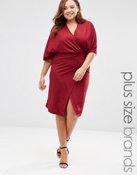 Club L Plus Wrap Front Dress With Kimono Sleeves Berry Red