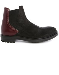 Paul And Joe Island Black Burgundy Dual Fabric Elastic Boots