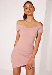 Missguided Wrap Bardot Bodycon Dress Pink Mauve