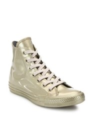 Converse Chuck Taylor Patent Metallic Rubber High Top Sneakers Light Gold