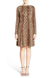 Women's Michael Michael Kors Piped Seam Snakeskin Print Fit And Flare Dress