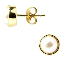 A B Davis Round Edge Pearl Stud Earrings Yellow Gold