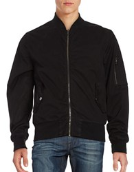 Hudson Jeans Cotton Blend Bomber Jacket Black