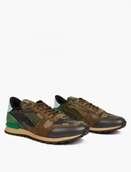 Valentino Camouflage Leather Running Sneakers