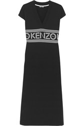 Kenzo Printed Cotton Jersey Midi Dress Black