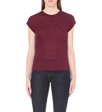 Maje Tom Sheer Yoke Linen Jersey T Shirt Burgundy