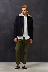 Wood Wood Sherpa Collar Flight Jacket Navy