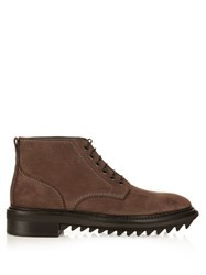 Lanvin Lace Up Nubuck Ankle Boots Brown