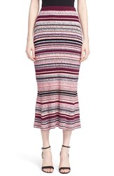 Tanya Taylor Women's Stripe Ribbed Midi Skirt