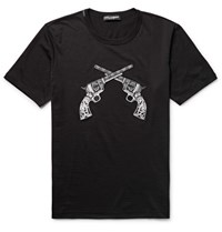 Dolce And Gabbana Slim Fit Appliqued Cotton Jersey T Shirt Black