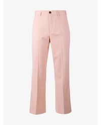 Miu Miu Wool Blend Cropped Trumpet Trousers Pink
