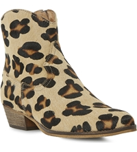 Bertie Province Western Ankle Boots Leopard Pony