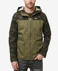 Buffalo David Bitton Men's Jajinst Lightweight Colorblocked Camouflage Jacket Sage