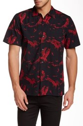 Obey Death Touch Woven Print Short Sleeve Regular Fit Shirt Red