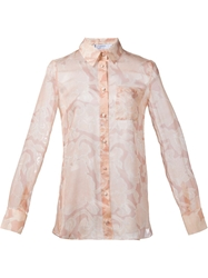 Altuzarra Floral Print Sheer Shirt Pink And Purple