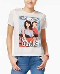 Mighty Fine Juniors' Relationship Goals Graphic T Shirt Linen