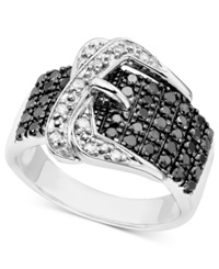 Macy's Black And White Diamond Buckle Ring In Sterling Silver 3 4 Ct. T.W.