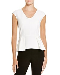 Aqua Cap Sleeve V Neck Peplum Top White