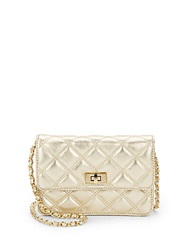 Saks Fifth Avenue Sissy Quilted Metallic Leather Bag Gold