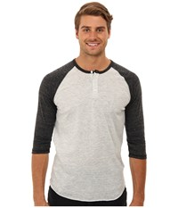 Alternative Apparel 3 4 Raglan Henley Eco Oatmeal Eco Black Men's Long Sleeve Pullover Gray