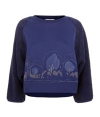 Adidas By Stella Mccartney Cropped Teddy Sweatshirt Navy