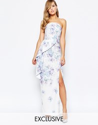 True Violet Bandeau Peplum Maxi Dress With Split In Print Multi Floral Print