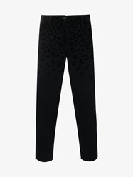 Kolor Leopard Print Wool Blend Cropped Trousers Navy Leopard White Beige