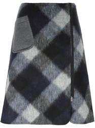 Jil Sander Navy A Line Check Skirt Grey